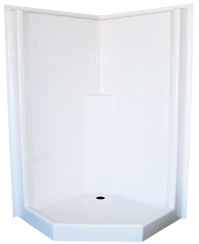The JS Fibreglass Corner Shower Cubicle is a quick and easy way to add a shower to your tinyhome.